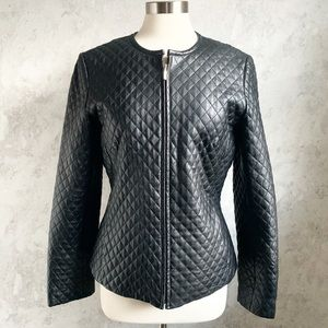 Casual Corner Black Quilted Leather Zip Jacket M